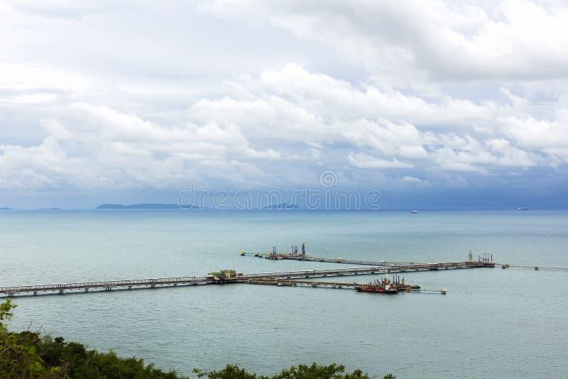 Pi?kny widok portowy statku jard, most z pracuj?cym ?urawiem dla importa eksporta w morzu pod p??mrokiem i chmurnieje przy chonbu zdjęcie stock