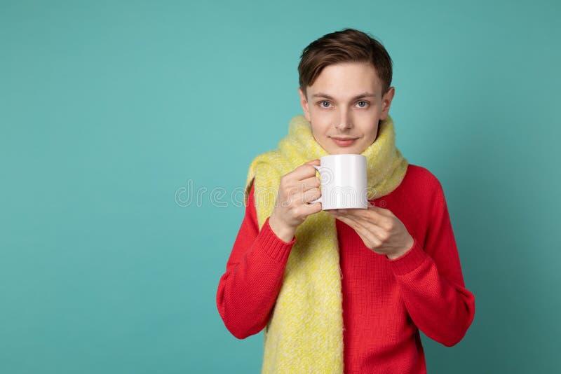 Pi?kny zmys?owy m??czyzna jest ubranym czerwonego pulower i szalika trzyma fili?ank? herbata w r?ce, obrazy royalty free