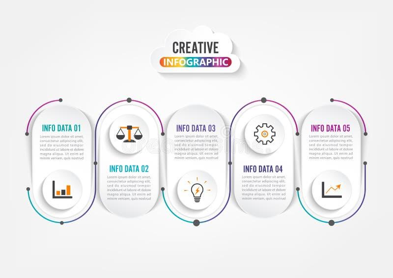 Pi?? krok?w Infographics Szablon dla broszurki, biznes, sie? projekt ilustracji