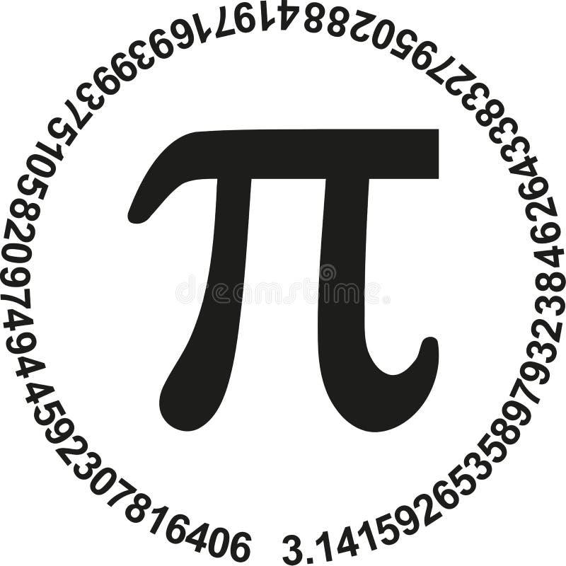 Pi met aantallen van pi in een cirkel royalty-vrije illustratie