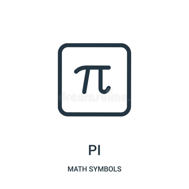 pi-pictogramvector van de inzameling van wiskundesymbolen Dunne het pictogram vectorillustratie van het lijnpi overzicht stock illustratie