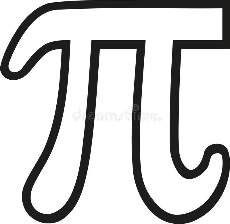 Pi sign outline. Maths vector vector illustration