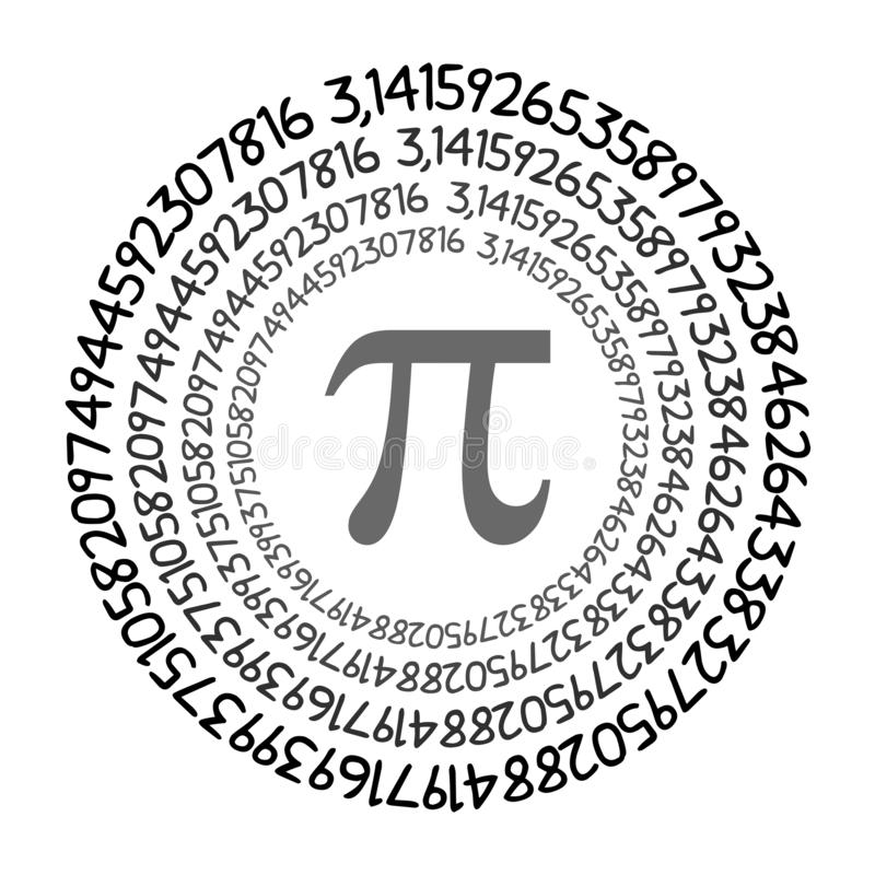 The Pi symbol mathematical constant irrational number on circle, greek letter. Background royalty free illustration
