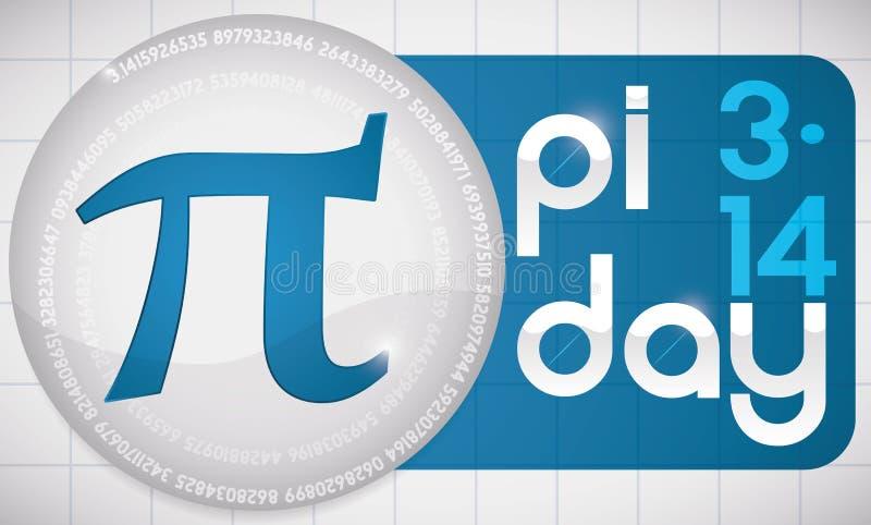 Pi-Symbool over Blauw Etiket met Teken voor Pi-Dag, Vectorillustratie stock illustratie