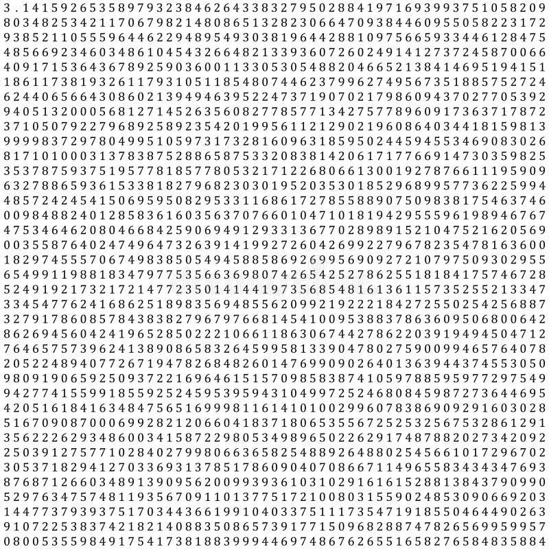 Pi - 3 1415 - Wiskundige Kolom van Cijfers Vectorachtergrond vector illustratie