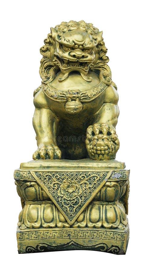 Pi Xiu ou estátua do dargon do ouro no fundo branco, trajeto de grampeamento fotografia de stock royalty free