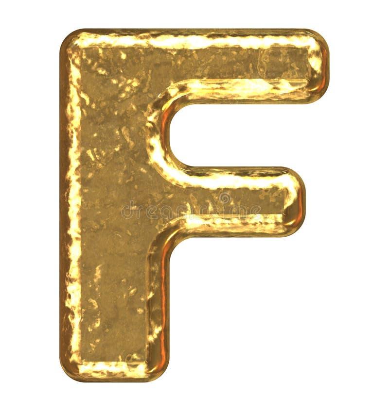 Pia batismal dourada. Letra F. fotos de stock