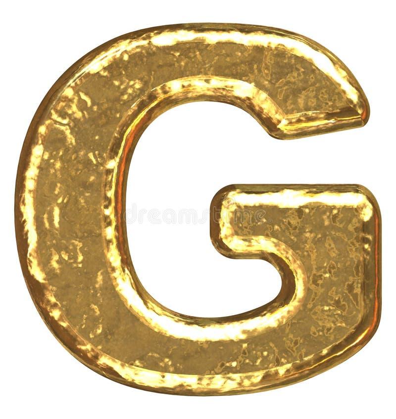 Pia batismal dourada. Letra G. ilustração do vetor