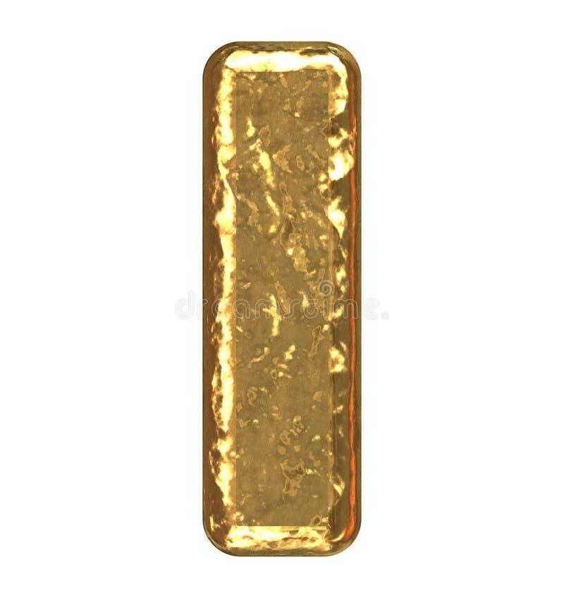 Pia batismal dourada. Letra I. ilustração stock