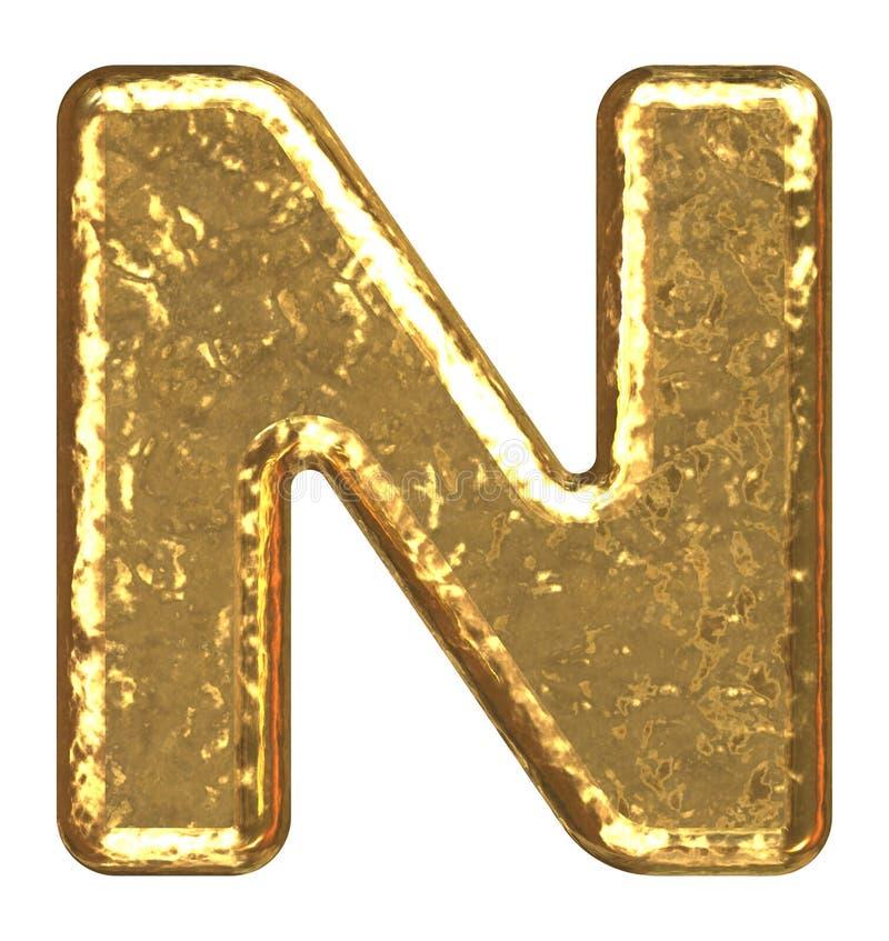 Pia batismal dourada. Letra N. ilustração royalty free