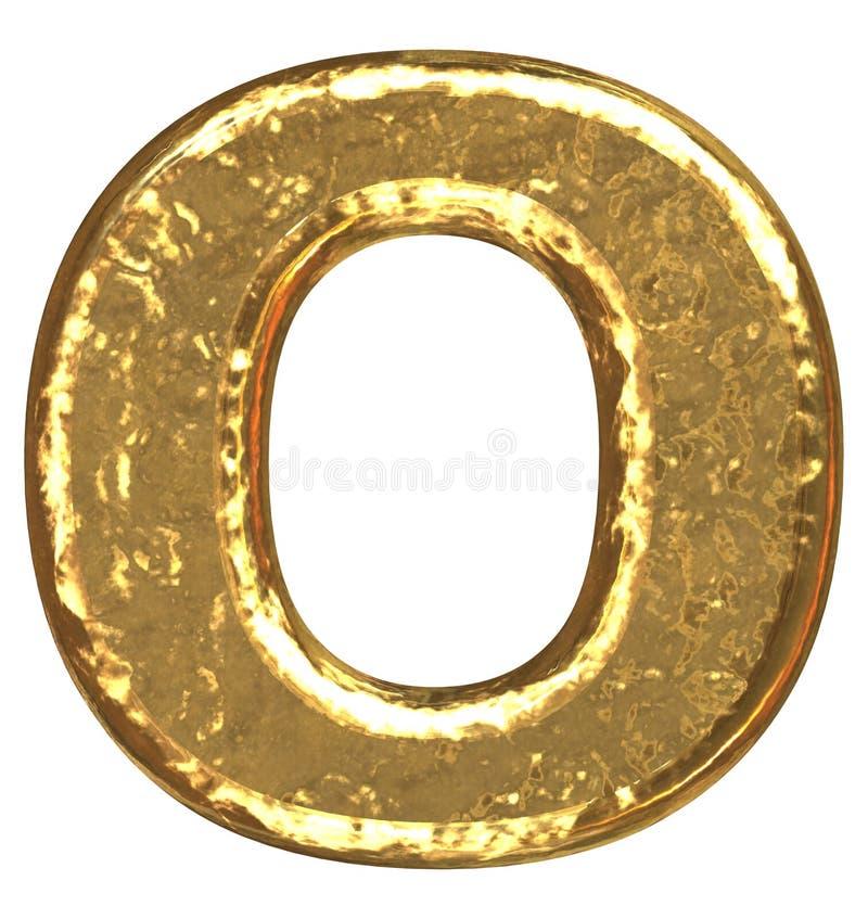 Pia batismal dourada. Letra O. ilustração do vetor