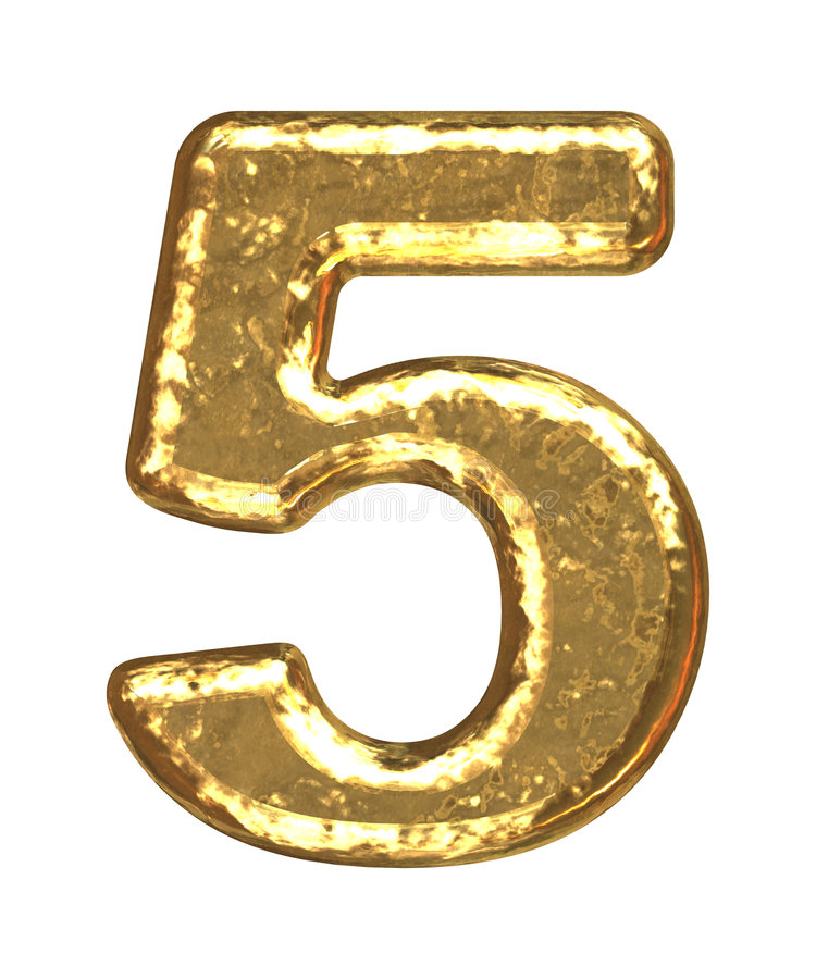 Pia batismal dourada. Número cinco ilustração do vetor