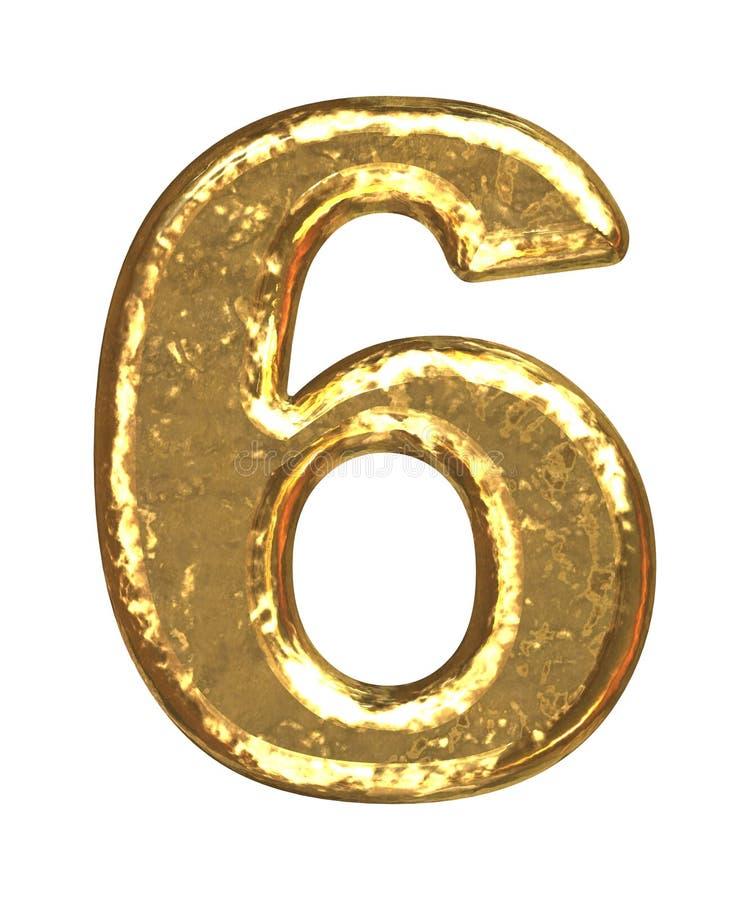 Pia batismal dourada. Número seis ilustração royalty free