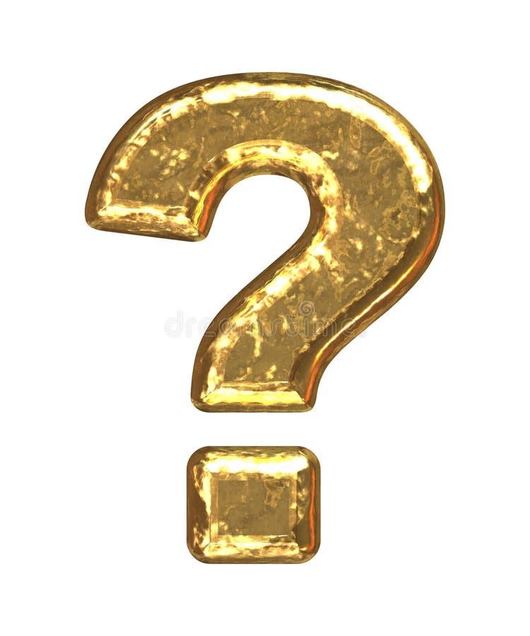 Pia batismal dourada. Ponto de interrogação ilustração stock