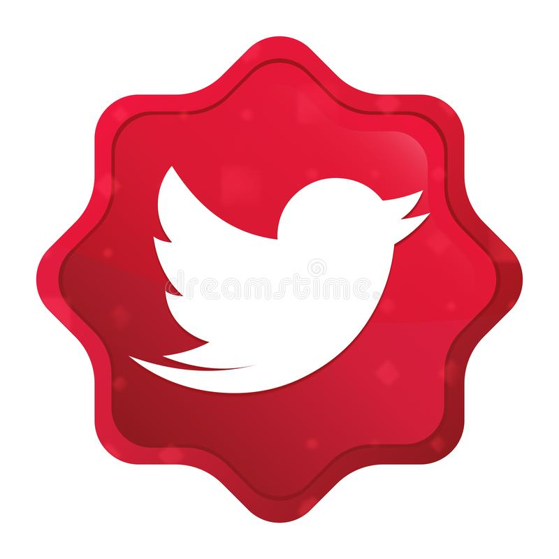 Pia o pássaro que o ícone enevoado aumentou botão vermelho da etiqueta do starburst ilustração stock