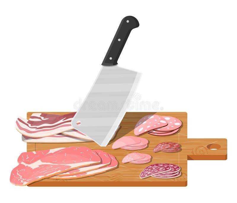 Τέμνων πίνακας, μπαλτάς χασάπηδων και piace του κρέατος απεικόνιση αποθεμάτων