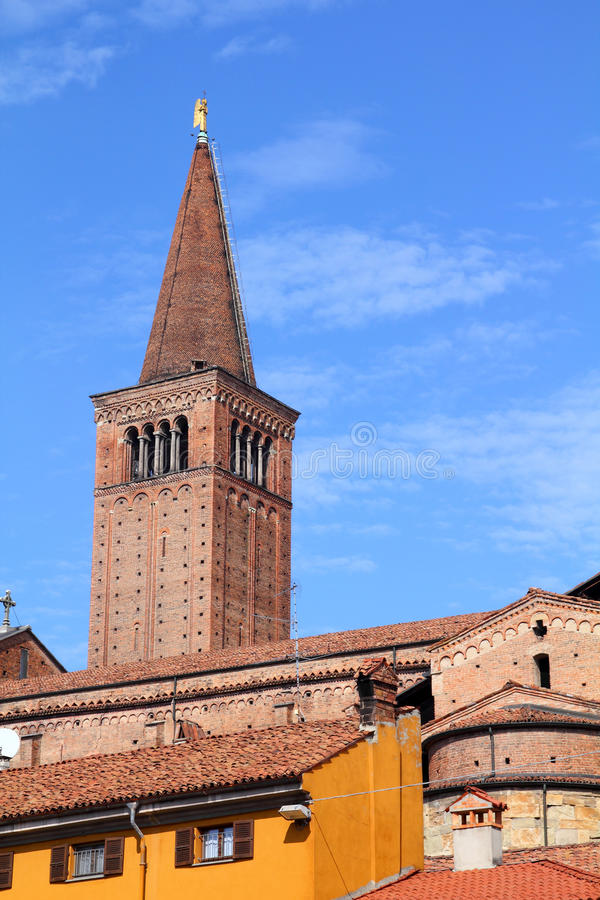 Piacenza, Italy. Emilia-Romagna region. Cathedral towering above the city stock images