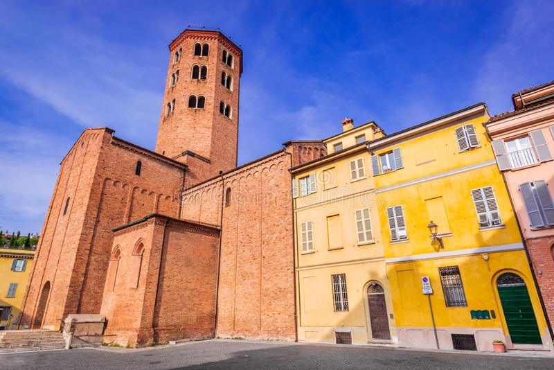 Piacenza, Italy. Basilica of St. Anthony famous for pilgrimage route in Emilia-Romagna royalty free stock image