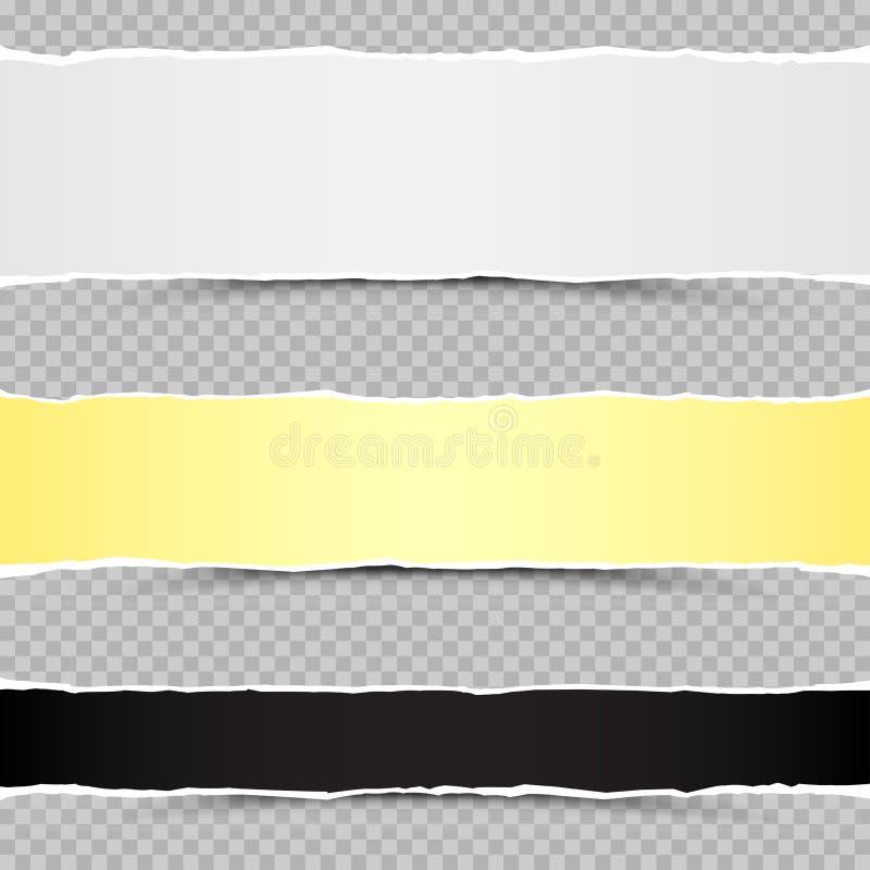Piaces pretos amarelos brancos do papel rasgado ilustração royalty free