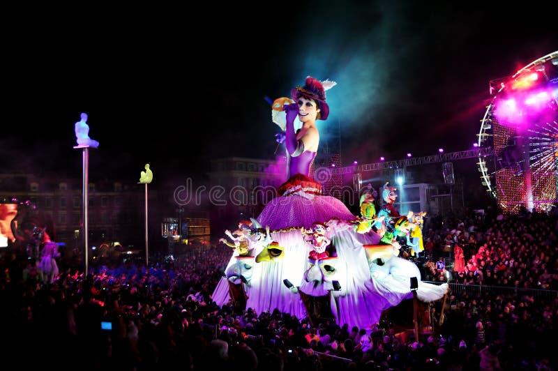 Piacevole, Francia, parata di carnevale fotografie stock