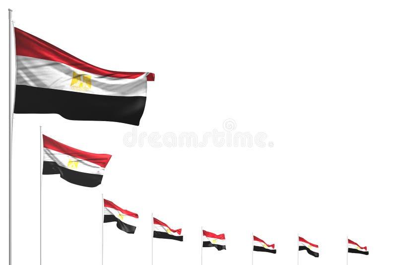 Piacevole molte bandiere dell'Egitto hanno disposto la diagonale isolata su bianco con il posto per il contenuto - tutta l'illust illustrazione di stock