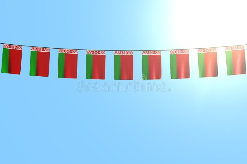 Piacevole qualsiasi illustrazione della bandiera 3d di celebrazione - molte bandiere o insegne della Bielorussia appende su corda illustrazione di stock