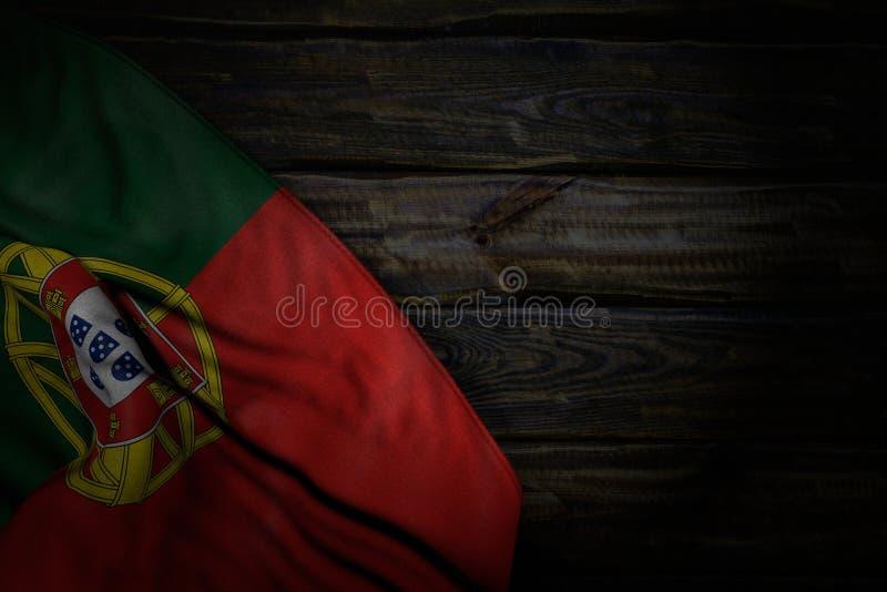 Piacevole qualsiasi illustrazione della bandiera 3d di festività - foto scura della bandiera del Portogallo con i grandi popolare royalty illustrazione gratis