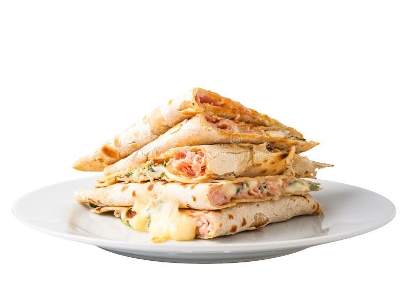 Piadina-Sandwich lizenzfreie stockbilder