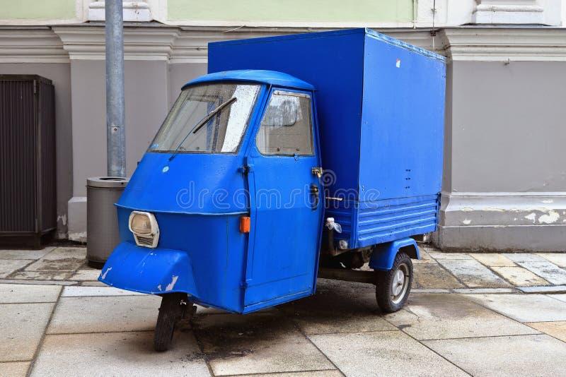 PASSAU, BAVARIA, GERMANY - MARCH 12, 2019: Piaggio Ape in blue color. stock photo