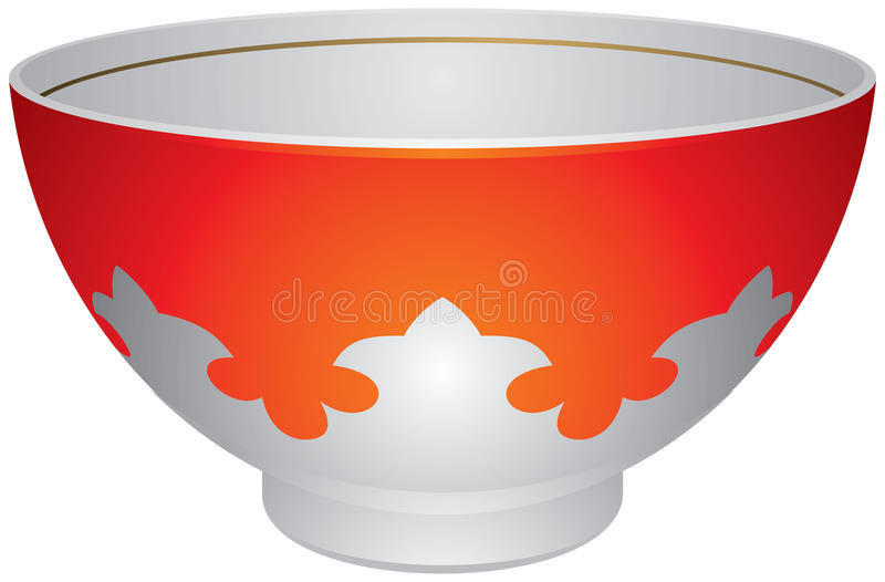 Piala or Piyala, Central Asian tradition tea cup. Popular in Kazakhstan, Uzbekistan, Tajikistan, Bashkir, Tatar, Mongolia, China stock illustration