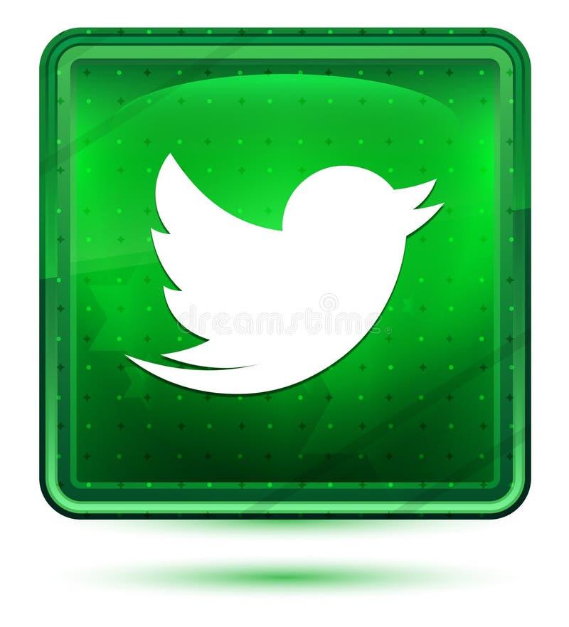 Piam claros de néon do ícone do pássaro - botão quadrado verde ilustração do vetor