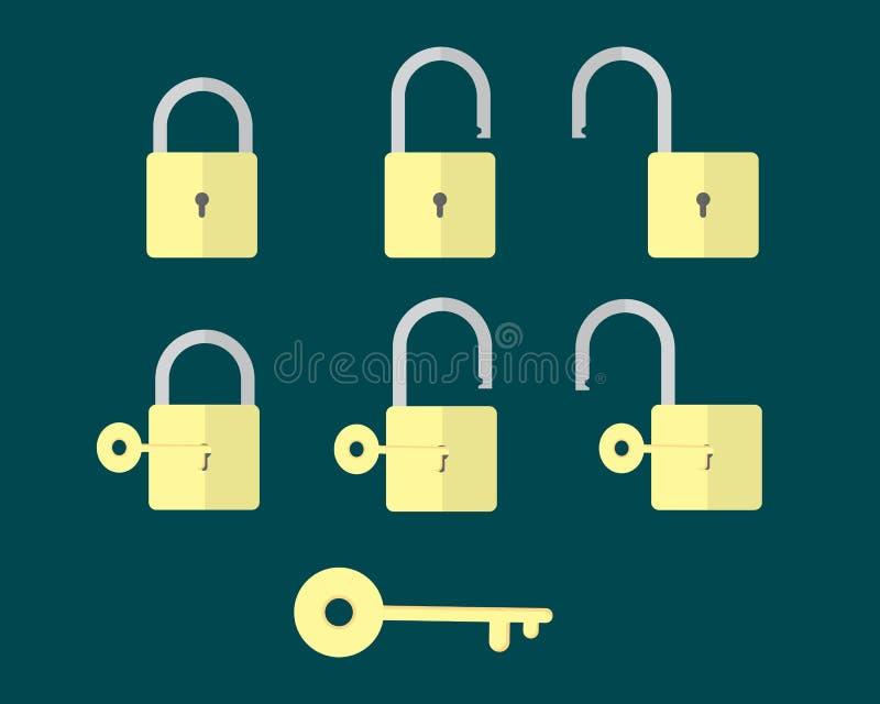 Pianamente 1 chiave e serratura 6 fotografia stock