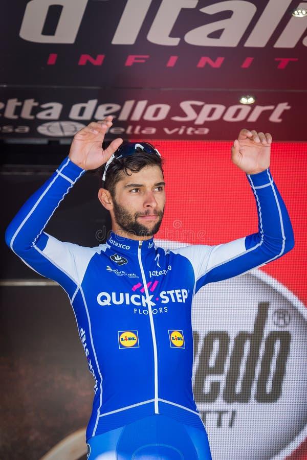 Piancavallo, Itália 26 de maio de 2017: Fernando Gaviria, equipe da etapa de Qucik, no pódio fotos de stock royalty free