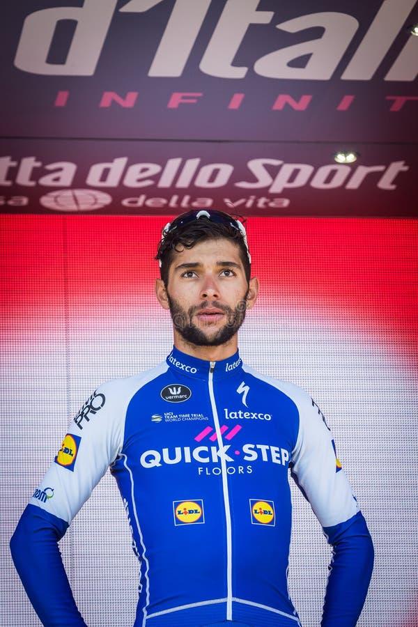 Piancavallo, Itália 26 de maio de 2017: Fernando Gaviria, equipe da etapa de Qucik, no pódio fotografia de stock royalty free
