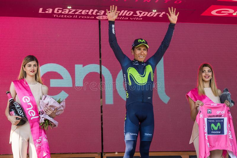 Piancavallo, Italy May 26, 2017: Nairo Quintana Movistar Team on the podium. After a hard montain stage of Tour of Italy 2017 that finish in Piancavallo royalty free stock images