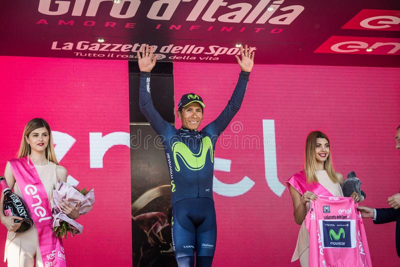 Piancavallo, Italy May 26, 2017: Nairo Quintana Movistar Team on the podium. After a hard montain stage of Tour of Italy 2017 that finish in Piancavallo stock photo