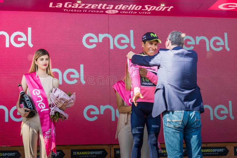 Piancavallo, Italy May 26, 2017: Nairo Quintana Movistar Team on the podium. After a hard montain stage of Tour of Italy 2017 that finish in Piancavallo stock image