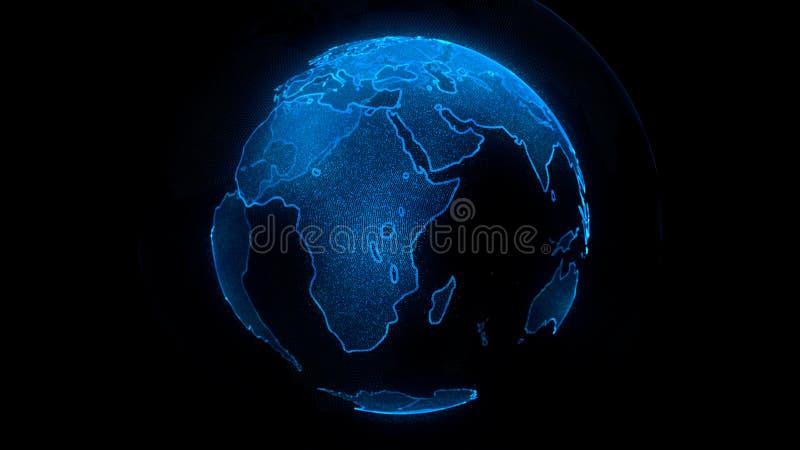 Pianeta blu di Digital di terra Globo con i continenti brillanti illustrazione 3D con terra digitale e le particelle royalty illustrazione gratis