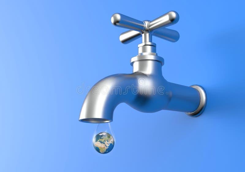 Pianeta colante della terra e del rubinetto nella goccia di acqua royalty illustrazione gratis
