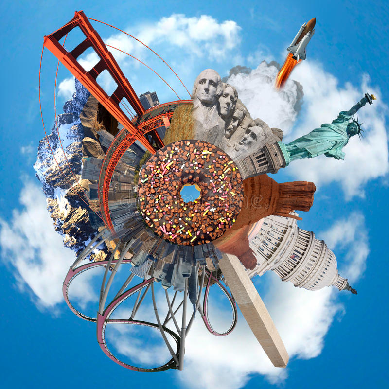 Pianeta con i monumenti dei maggior parte dei S.U.A. famosi immagine stock libera da diritti