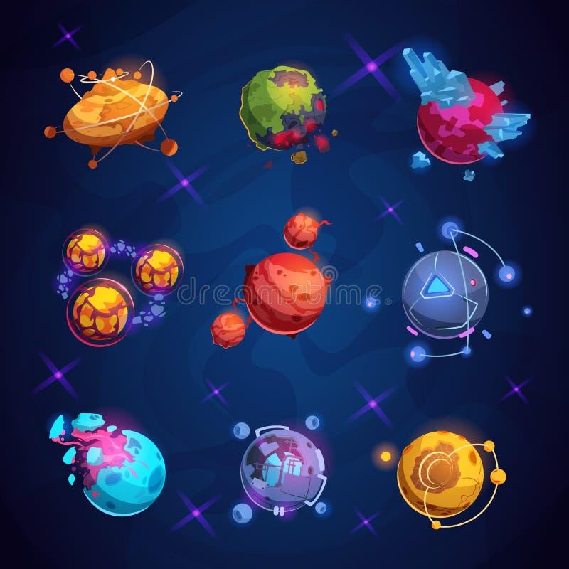Pianeta del fumetto di fantasia Pianeti stranieri fantastici Elementi di vettore del gioco di mondo dello spazio illustrazione di stock