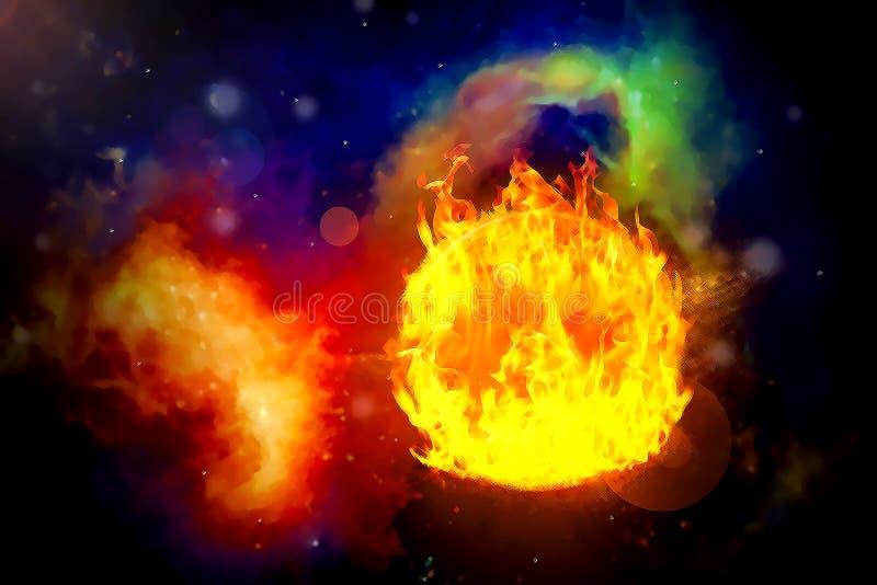 Pianeta del fuoco nelle galassie del fondo e nelle stelle luminose illustrazione vettoriale
