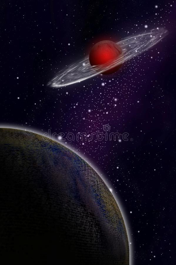 Pianeta del gas e pianeta nella zona di spazio royalty illustrazione gratis