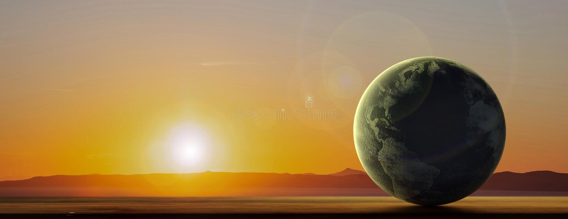 Pianeta della terra al fondo del paesaggio di tramonto, insegna, spazio della copia illustrazione 3D illustrazione vettoriale