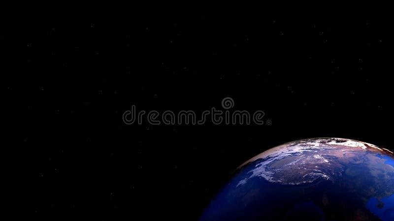 Pianeta della terra nello spazio con le stelle illustrazione di stock