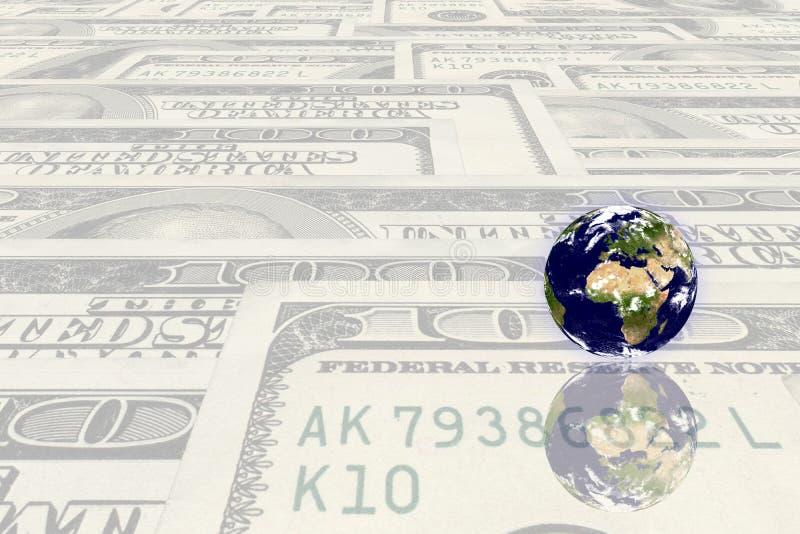 Pianeta della terra sui soldi immagine stock libera da diritti