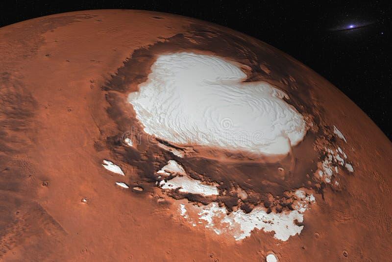 Pianeta di Marte del primo piano del polo nord del sistema solare nello spazio immagine stock