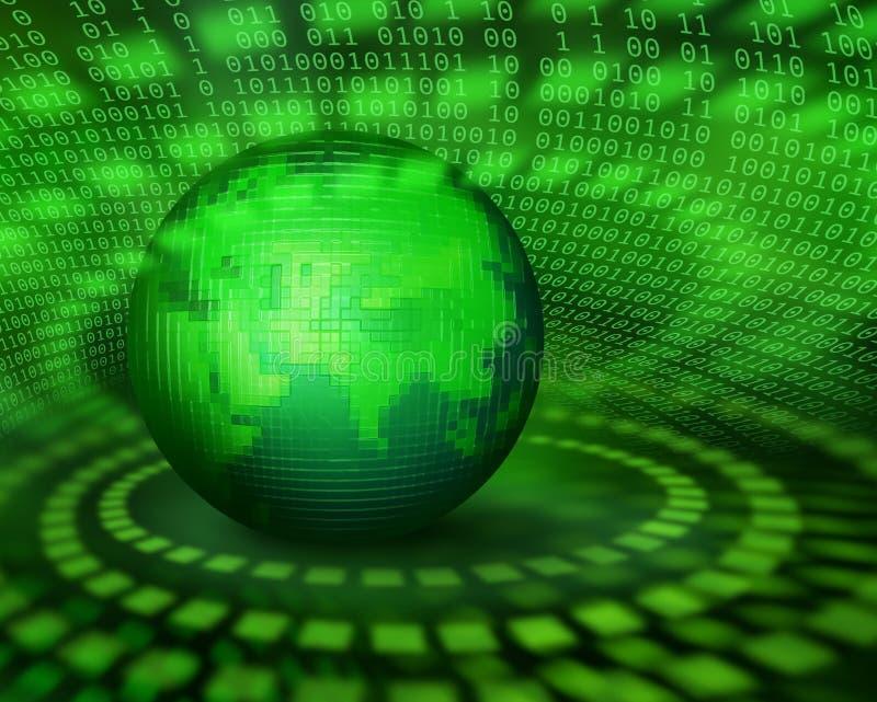 Pianeta digitale verde del pixel illustrazione di stock