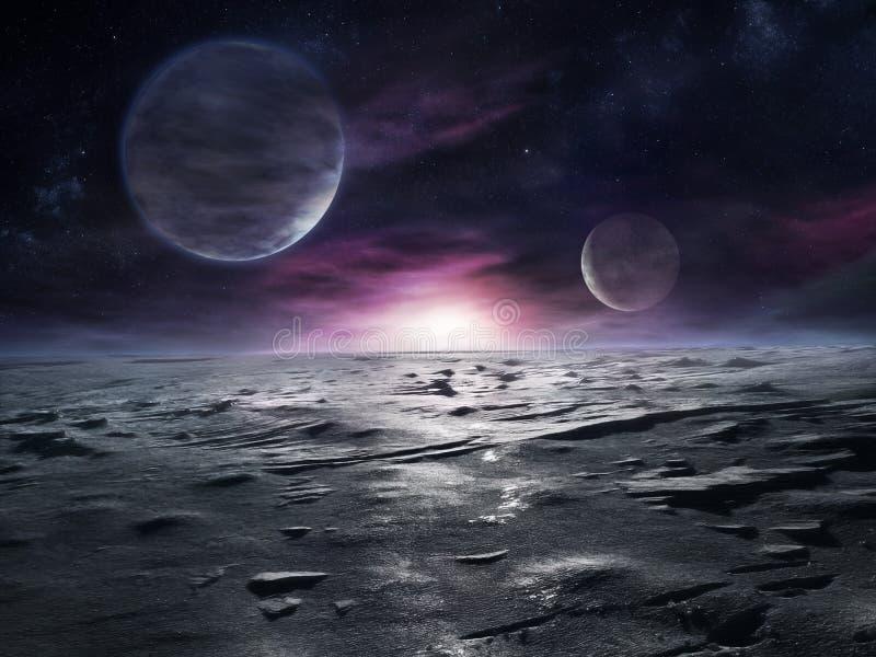 Pianeta distante congelato illustrazione vettoriale
