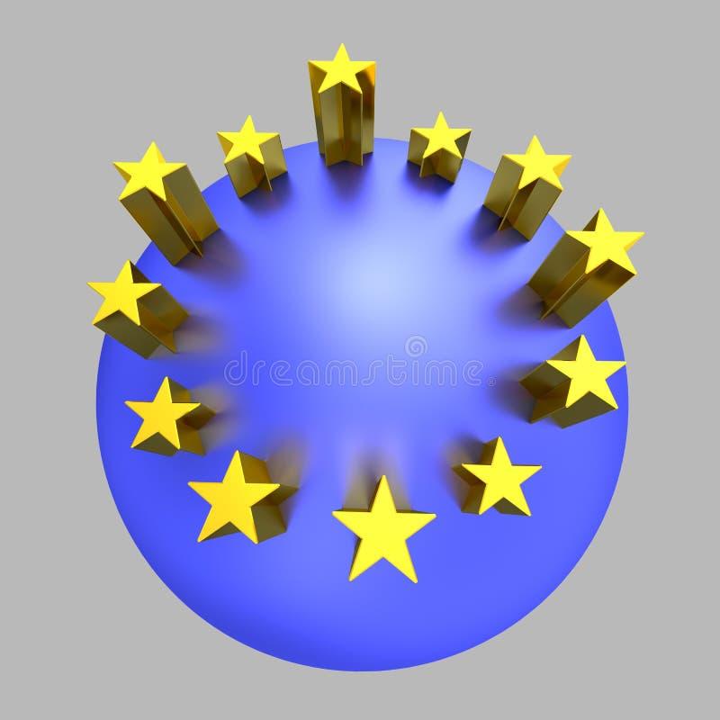 Pianeta dorato del blu delle stelle dell'Unione Europea royalty illustrazione gratis